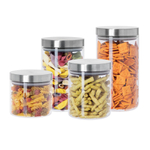 Oggi 4 Piece Round Borosilicate Glass Canister Set with Stainless Steel Lids