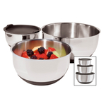 Oggi Stainless Steel 3 Piece Bowl Set with Black Silicone Bases