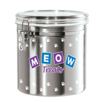Oggi Stainless Steel Meow 150 Ounce Treat Jar