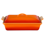 Le Creuset Heritage Flame Stoneware Covered Rectangular Casserole Dish, 4 Quart