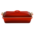 Le Creuset Heritage Cherry Stoneware Covered Rectangular Casserole Dish, 4 Quart