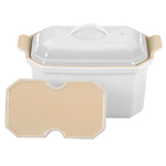 Le Creuset Heritage White Stoneware Pate Terrine with Press, .75 Quart