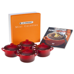 Le Creuset Set of 4 Cherry Stoneware Mini Cocottes and Cookbook