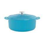 Chantal Sea Blue 5 Quart Round Cast Iron Casserole