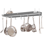 J.K. Adams Metallic Gray Chrome and Maple Ceiling Pot Rack, 39 Inch