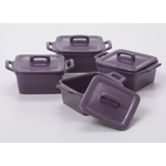 O-Ware Violet Stoneware Mini Square Baker with Lid, Set of 4