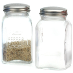 RSVP Retro Clear Glass Salt and Pepper Shaker Set