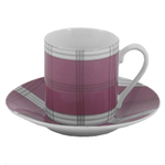 Pastel Plaid Porcelain Espresso Set 12 Pieces