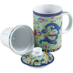 Green Ceramic Dragon Tea Cup with Infuser