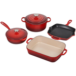 Le Creuset 6 Piece Signature Cerise Enameled Cast Iron Cookware Set