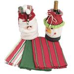 Santa & Snowman Kitchen Towels & Wine Gift Bag Set