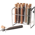 RSVP 10 Piece Glass Spice Tube Set with Rack