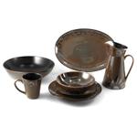 Ambiance Sunburst 19 Piece Brown Ceramic Dinnerware Set, Service for 4