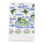 Froggy Day Printed Design Bathroom Hand Towel, Set of 2