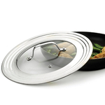 RSVP Endurance Stainless Steel Universal Lid with Glass Insert