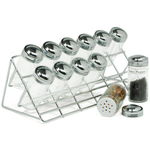 Chrome Steel Countertop 12 Glass Spice Rack