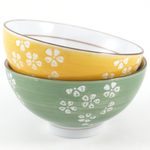 Green and Yellow Ceramic Floral Rice or Soup Bowl, Set of 4