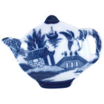 HIC Harold Import Co Blue Willow Porcelain 4.5 Inch Teabag Caddy Holder