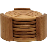 Lipper International 7 Piece Bamboo Coaster Set