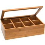 Lipper International 8 Compartment Bamboo Tea Box