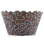 Bella Cupcake Couture Olivia Blue and Brown Cupcake Wrapper, Set of 12