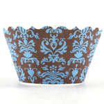 Bella Cupcake Couture Lu Lu Blue and Brown Mini Cupcake Wrapper, Set of 18