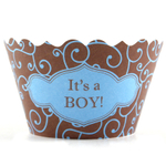 Bella Cupcake Couture Olivia Blue and Brown It's a Boy Cupcake Wrapper, Set of 12