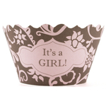 Bella Cupcake Couture Hannah Pink And Brown It's a Girl Cupcake Wrapper, Set of 12