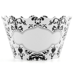 Bella Cupcake Couture Lu Lu Black and White Blank Write-In Cupcake Wrapper, Set of 12