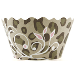 Bella Cupcake Couture Sophia Cheetah with Pink Vines Cupcake Wrapper, Set of 12