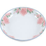 White Porcelain Pink Flower Asian Serving Bowl