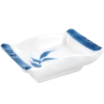 White Porcelain Asian Sauce Dish with Blue Bamboo Leaf Design