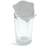 Anchor Hocking Embossed Glass Triple Pour Measuring Glass with Lid, 8 Ounce