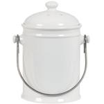 Anchor Hocking White Ceramic Compost Pail with Venetian Bronze Handle, 2 Quart