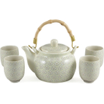 Asian Green and White Porcelain Floral 5 Piece Tea Set