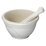 Le Creuset White Stoneware 20 Ounce Mortar and Pestle Set