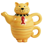 Lucky Fishy Cat Stoneware Tea for One Set