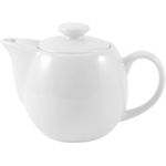 OmniWare Teaz White Stoneware 14 Ounce Teapot with Stainless Steel Mesh Infuser