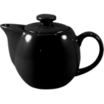 OmniWare Teaz Black Stoneware 14 Ounce Teapot with Stainless Steel Mesh Infuser