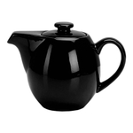OmniWare Teaz Black Stoneware 24 Ounce Teapot with Stainless Steel Mesh Infuser