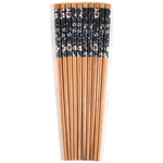 Asian Black Floral Bamboo Chopsticks, 5 Pair