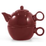 Metropolitan Tea Burgundy Ceramic Tea For Me Pot
