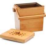 RSVP 4.5 Quart Square Bamboo Compost Pail
