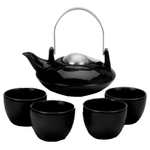 Old Dutch Saturn Black 6 Piece Teapot Set