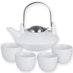 Saturn White Teapot & 4 Tea Cups, 6 Piece Set