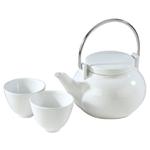 White Oriental Teapot, 3 Piece Set
