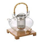 Bonjour Asian Zen Glass 42 Ounce Teapot and Bamboo Accessory Kit