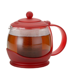 BonJour Prosperity Red Flavor Lock Glass Teapot with Infuser