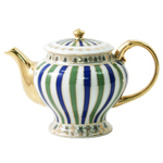 Collectable Blue and Green Striped Miniature Teapot