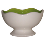 Talisman Designs Ceramic Scalloped Edge White and Green Entertaining Pedestal Bowl